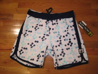 Body Glove Mens Blue and White Dot Surf Swim Board Shorts Size 38