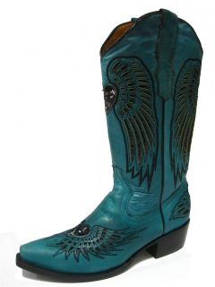 Ladies Turquoise Leather Western Cowboy Boots with Wings Heart