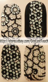 28 KISS Nail Dress BUSTIER Art Strips Appliques Decals Black Silver