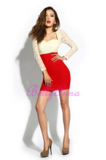 Empire Waist Lace Cocktail Evening Club Party Bodycon Dress
