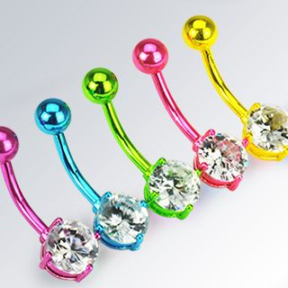 Neon Titanium Clear Gem Belly Navel Rings Body Jewelry