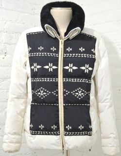 Bogner White Black Embroidered Faux Fur Down Puffer Ski Jacket Coat