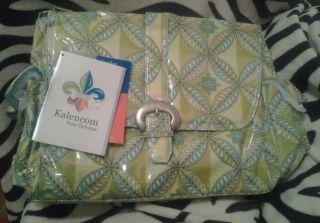Kalencom Buckle Unisex diaper bag NWT Green Yellow Blue leaf Design