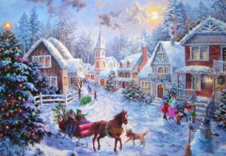 Artist Nicky Boehme Merry Christmas Village Greeting Card Envelope