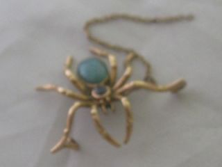 Antique c1890 Victorian 18ct Gold Bolder Opal Garnet Spider Brooch A F