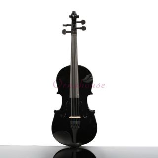 New 1 2 High Quality Black Color Acoustic Violin Case Bow Rosin