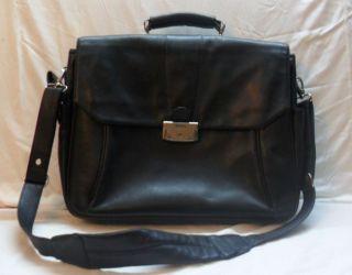 BOSCA Black Leather Laptop Computer Shoulder Bag / Briefcase