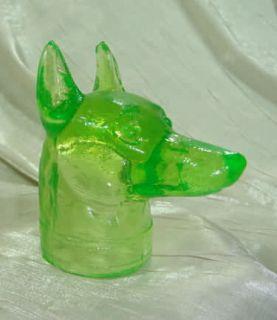 Boyd Doberman Pinscher Dog Head Lime Light Glass Dobe