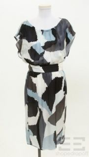 Boss Hugo Boss Blue Black Print Silk Belted Cap Sleeve Dress Size US 8