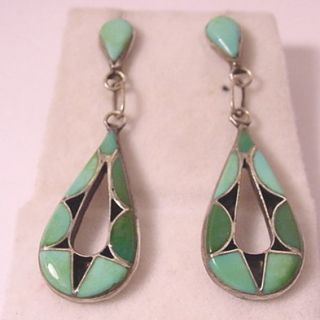 VTG 1930 S ZUNI INDIAN GREEN BLUE TURQUOISE STONE DROP STERLING SILVER