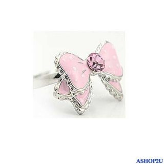 Lovely Cute Bowknot Butterfly Dots Rhinestone Adjustable Ring Pink