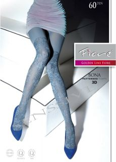 Bona Opaque Pattern Winter Microfiber Tights Pantyhose Size L Light