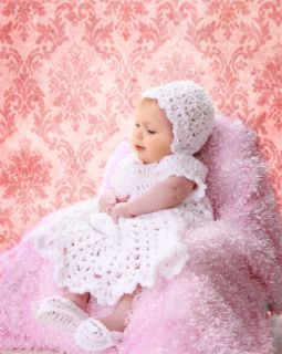 Christening Gift Set Dress Gown Bonnet Booties Shoes 0 3 Month
