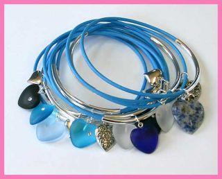 15 Bangle Bracelet Sky Blue Leather Mixed Hearts Charms