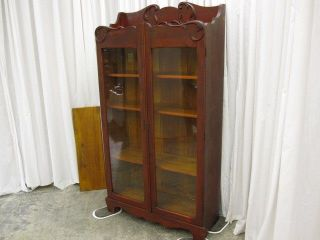 Antique Victorian Style Bookcase w Shelfs Glass Doors