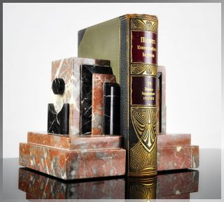 Huge 1920s French ART DECO Skyscraper MARBLE BOOKENDS Book Ends