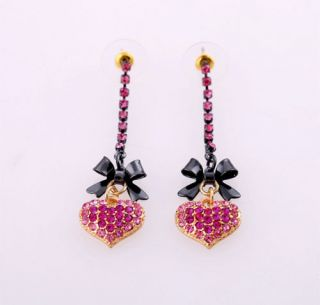 Betsey Johnson Pink Heart Crystal Black Bow Dangle Earrings