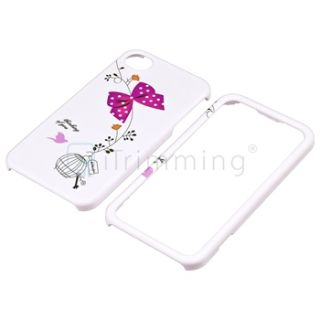 Cute Pink Bow Birdcage Front Back White Hard Case Skin Cover for