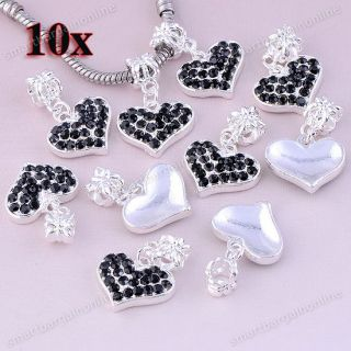 10pc Black Crystal Silver Plated Heart Dangle Charms European Beads