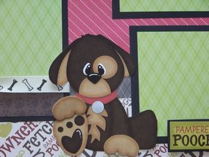 Bow Wow / Dog / Puppy   TWO Premade Scrapbook Pages Layout 12x12