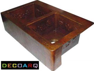 Double Bowl Copper Kitchen Sink Farmhouse Apron Vine Design Old Patina