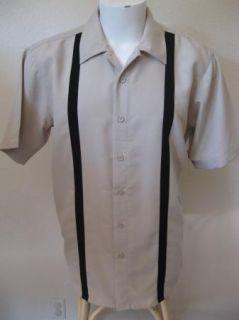 4XL 4X Tan Black Panels Bowling Shirt 2Tone Rock Roll