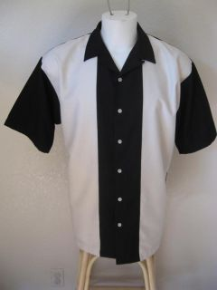 Rockabilly L Black Beige Panels Bowling Shirt 2Tone Rock Roll