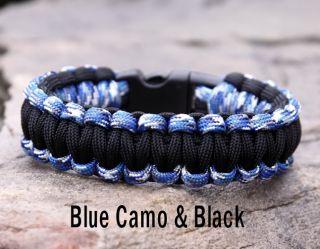550 Paracord Survival Bracelet Blue Camo Black