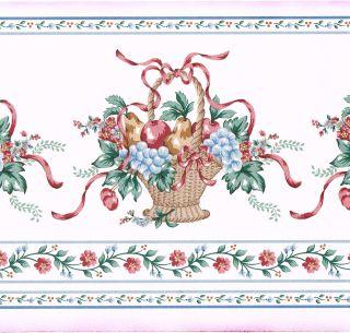 Fruit Basket Floral Bow Ribbon Blue Trim Wall Paper Border