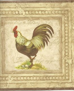 Wallpaper Border/ Biege Background Chicken Wall Border / Brown Trim