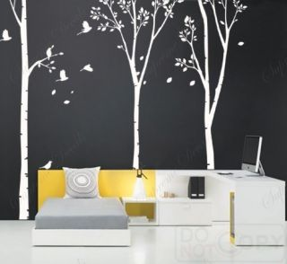 Vinyl Wall Art Decals Three Big Birch Trees