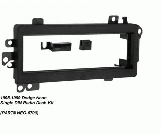 1995 1996 1997 1998 1999 Dodge Neon Single DIN Radio Dash Install Kit