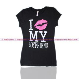 Women Funny T Shirt I Love My Boyfriend in Black Shirt s M L XL Fast
