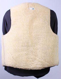 Boys Vtg Soft Leather Cow Fur Sheepskin Ranch Vest 24