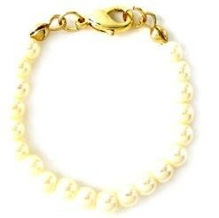 New Gold Tone White Pearl Necklace Bracelet Extender