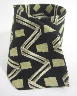 BOSS HUGO BOSS Black Yellow Geometric Printed Silk Mens Necktie