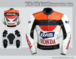 Honda Repsol Motorcycle motorbike Biker Racing Leather Jacket MJK 180