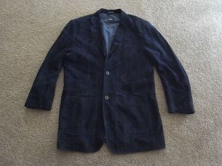 Boss Hugo Boss Italian Goat Suede Leather Jacket Blazers Navy Mens
