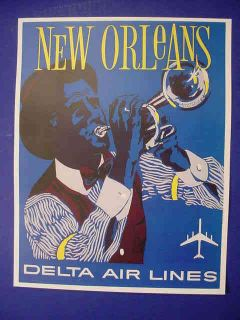 1960s Delta Air Lines New Orleans Trumpet Player Poster
