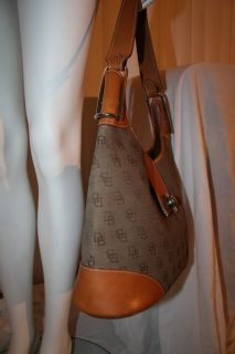 Dooney Bourke Crescent Hobo Turnlock D B Monogram $375 Leather Bag