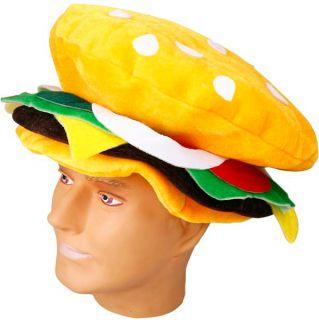 Adult Velvet Hamburger Costume Food Hat Cap