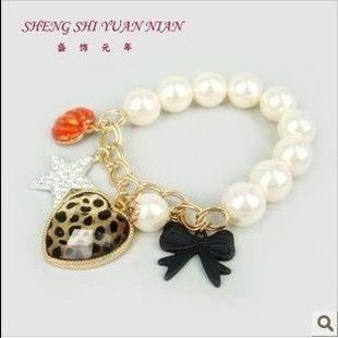 Betsey Johnson The peach heart leopard Bow elastic bracelet SL224