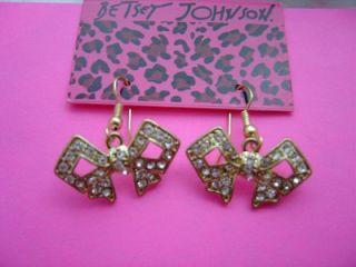 Betsey Johnson Crystal Bow Dangle Earrings