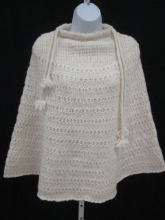 you are bidding on a new brenda lynn ivory wool knit sweater poncho