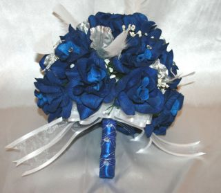 Wedding Bridal Bouquet Round Blue Silver White Silk Flowers 21 PC