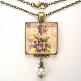 Flower Art Glass Pendant Brass Necklace Vintage Charm Jewelry