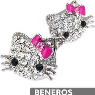 Swarovski Crystal Hello Kitty Silver Earrings Pink Bow