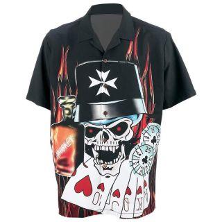 Flames Skull Poker Button Bowling Shirt Biker Medium