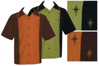Black & Green CROSSHATCH Classic Retro Short Sleeve Bowling Shirt S 3X