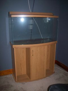 Fish Tank Aquarium 46 Gallon Bow Front with Cabinet Used Very Good